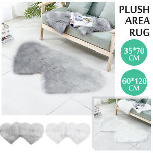 Double Heart Shaped Washable Fluffy Rug Floor Mat Fur Home Bedroom Plush