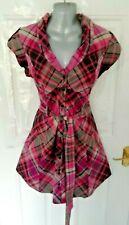 TED BAKER Size 14 (4) Pink Grey Black Check Shirt Dress Tie Belt Hooded Pockets