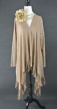 Alberto Makali Suede Brown/Beige Shawl Cover Up Wrap w/ Fringes M NWT