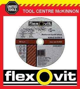 "10 X FLEXOVIT 230mm / 9"" REINFORCED METAL CUTTING CUT-OFF WHEEL"