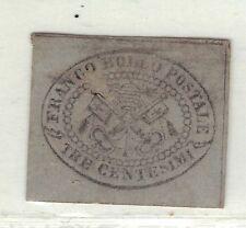 Roman States Scott #13a looks used lilac gray tre centesimi CAT.$2300.00(X2366)