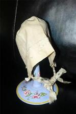 Antique Baby Doll Bonnet Hat With Silk Ties And Embroidery