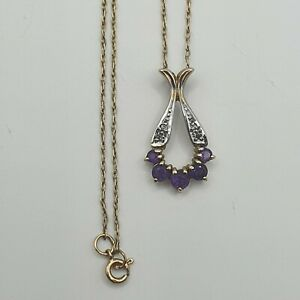"""9ct Gold Amethyst Necklace With Small Diamonds? 19"""" fine chain. London 1985"""