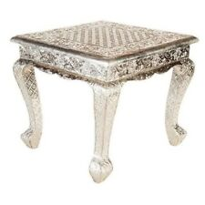 Fez Embossed Silver Metal Coffee Table