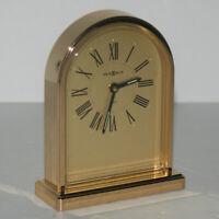 Vintage Howard Miller Brass Classic Desk Mantle Alarm Clock Quartz 4RE957 JAPAN