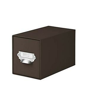 Rössler SOHO CD Storage Box with Metal Index Holder - Dark Brown