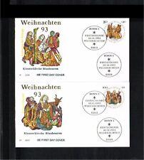 [KT128] 1993 - Deutschland FDC Mi. 1707-1708 - Festivals & Seasonal - Christmas