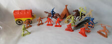 Marx Fort Apache Lot Pioneers, Indians, Horses and Wagon. 21 Piece's