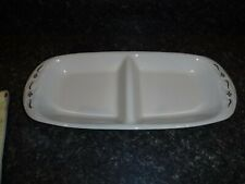 Longaberger Pottery Woven Traditions Heritage Green Divided Serving Relish Dish