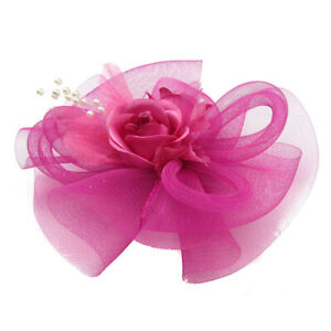 Fascinator Headpieces Veil Flower Hat Brooch Clip Bride Wedding Cocktail Party