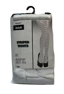 Amscan Tights Adult One Size Fits Most Striped Gray & White One Pair NIP
