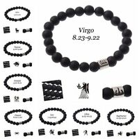 12 constellation Bracelet Men Black Beaded Lava Stone Bracelet Fashion Bracelets