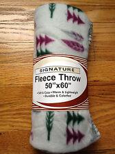 "Signature 50"" x 60"" Gray, Green, & Red Wildlife FLEECE THROW Brand New"