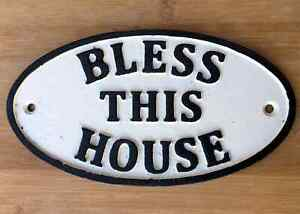 Bless This House Sign Cast Iron Front Door Plaque Wall Mounting 17cm Traditional