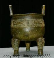 """Ancien palais de la dynastie chinoise en bronze de 10 """", bête de 3 pieds"""