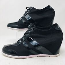 DKNY Womens Cam Wedge Sneakers Shoes Black Mid Top Lace Up 8