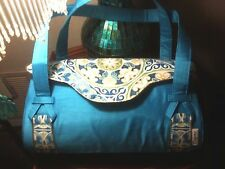 Handmade Baguette Bag Turquoise/Blue Designer Handbag Purse new