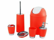 SQ Professional Bathroom Bin Toiletery Accessory Set, 6-Piece, Red