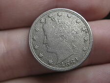 1884 Liberty Head V Nickel 5 Cent Piece- VF/XF Details