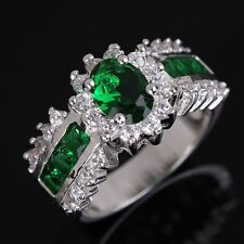 For Mens Womens Jewellry Size 10 Emerald Fashion Gold Filled Wedding Band Ring
