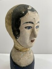 Antique Folk Art French Milliner's Head Bust Hat Stand Papier Mache & Leather