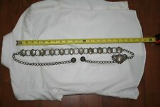 """Fine, Vintage Silver Plated Filigree Panel Belt, Chain and Tassels 45"""" Lenght"""
