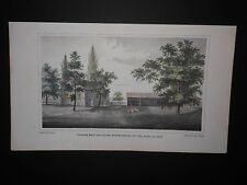 Friends Meeting House Quaker Haverford Pennsylvania 1862 Hand Color Eng. Scarce