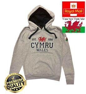 New Men's Wales Cymru Am Byth Arfon Grey Marl Varsity Welsh Flag Hoodie Top
