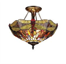 """Tiffany Style Stained Glass 16"""" Shade Semi-Flush Ceiling Light Dragonfly Design"""
