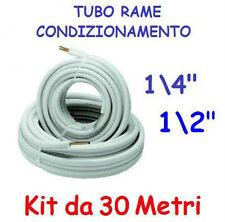 """KIT METRI 30 MT TUBO ROTOLO RAME CONDIZIONAMENTO CLIMATIZZATORE 1/4"""" + 1/2"""""""