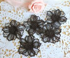 Bridal Organza Applique Floral Wedding Motif Black Lace Applique Trim 4 Pieces
