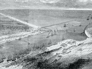 1871 Original Print ROMANIA - IMPROVEMENTS AT SULINA MOUTH OF THE DANUBE