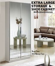 Mirrored High Gloss Shoe Cabinet Rack Storage Shelf Organiser Mirror 80x35x200CM
