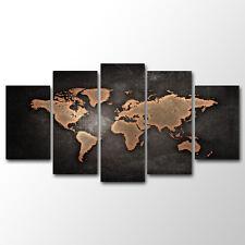 Unframed Home  Decor Canvas 5 Panels Canvas Prints World Map Wall Art Canvas