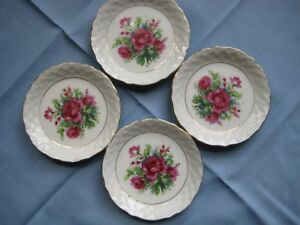 Lot - 4 Porcelain Butter Pats Red Roses CottageCore Estate TJ-5