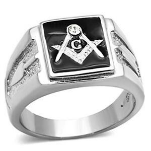 Masonic Stainless Steel Surgical 316 L Top Grade Crystal Ring, 10