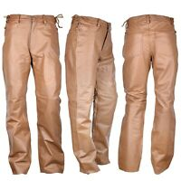 """Mens Short Waist Side Laces Genuine Leather Jean Style White Pant Waist Size 44/"""""""