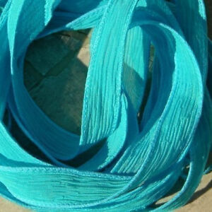 Tuquoise Silk Ribbons, Hand Dyed Qty 5 Jewelry Making Supplies JamnGlass Aqua