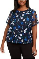 Calvin Klein Womens Navy Floral Short Sleeve JEWEL Neck Top Size 2x