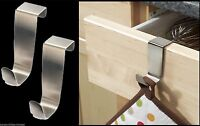 3 x STAINLESS STEEL OVER KITCHEN CABINET DOOR DRAW HOOKS POT HOLDER TOWEL HOLDER