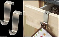 3 x STAINLESS STEEL OVER KITCHEN CABINET DOOR DRAW HOOKS POT HOLDER TOWEL HOLDER