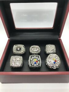 Set of 6 Pittsburgh Steelers Super Bowl Championship Ring Steelers Silver Rings