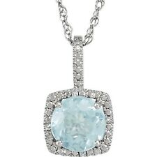 Natural Aquamarine Gemstone & Real Diamonds Pendant Necklace 925 Sterling Silver