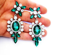 Rhinestone Chandelier Pageant Earrings Green 2.9 inch