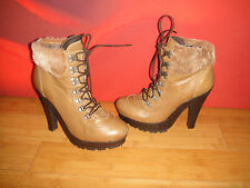 TOPSHOP BROWN LEATHER WITH REAL SHEEPSKIN PLATFORM ANKLE BOOTS EU 39 *4*
