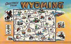 Greetings from Wyoming, Cheyenne, Laramie, Jackson, Rodeo etc State Map Postcard