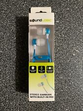 SOUNDLOGIC STEREO EARBUDS WITH BUILT IN MIC SILICONE BUDS DYNAMIC SOUND Blue New