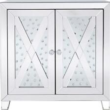SIDE CABINET MODERN CONTEMPORARY CLEAR MIRROR CRYSTAL 2 -DOOR