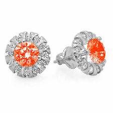 3.45 Round Cut Halo Red Simulated Diamond Designer Stud Earrings 14k White Gold