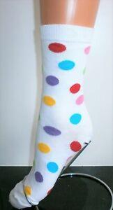 LADIES TEENS WHITE MULTI RAINBOW POLKA DOT SPOTS ANKLE SOCKS SIZE 4 - 6.5 UK